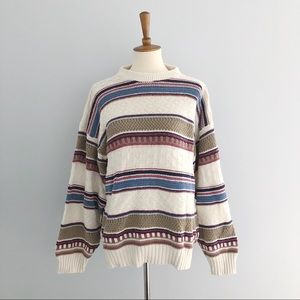 Vintage Knit Striped Sweater Size Medium